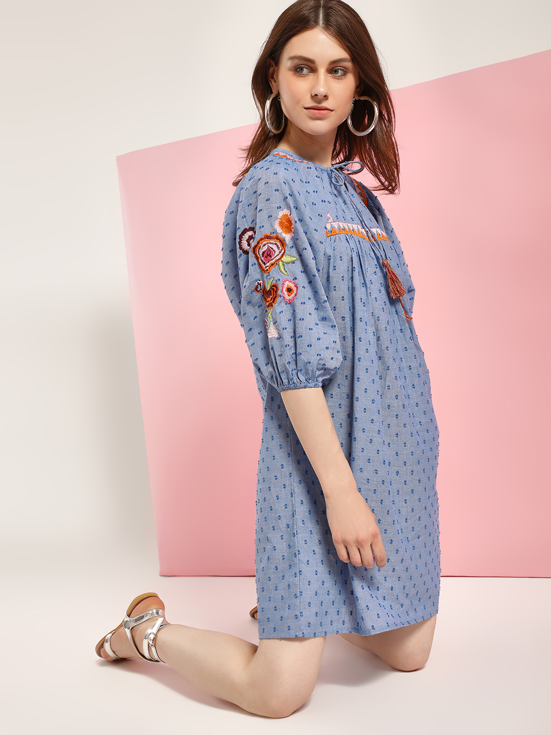 Rena Love Blue Dobby Floral Embroidered Shift Dress 1