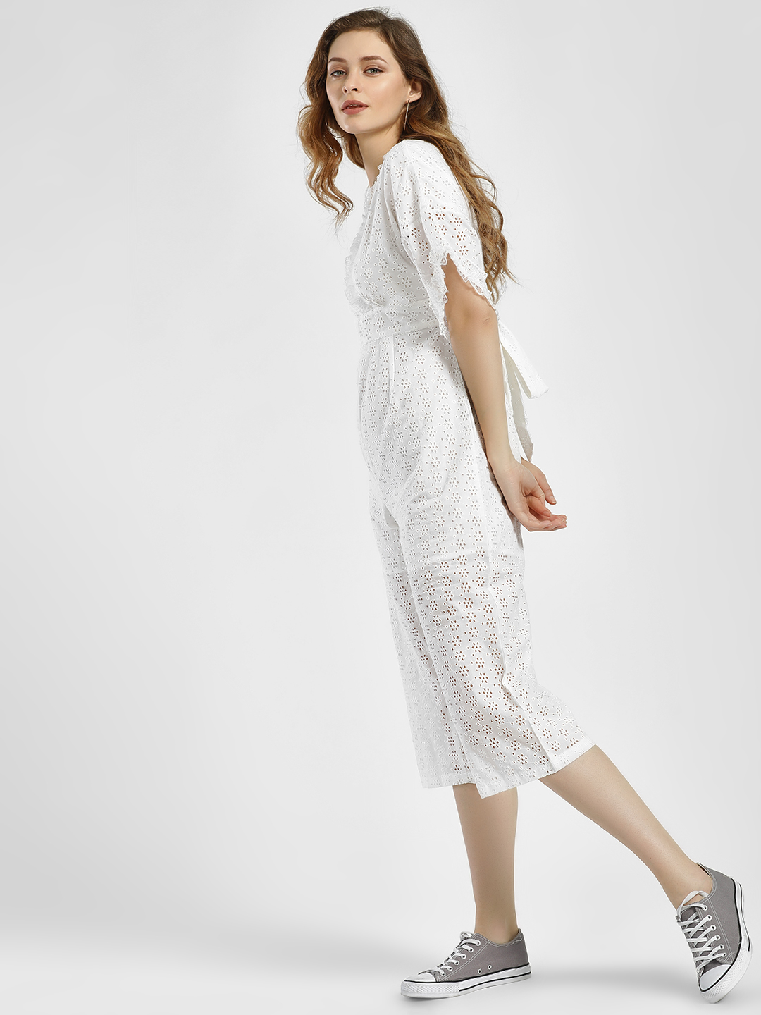 Rena Love White Lace & Broderie Cropped Jumpsuit 1