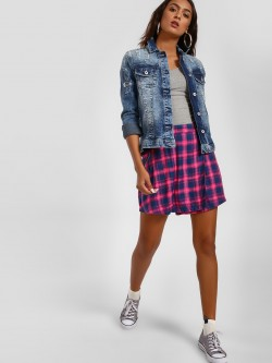 KOOVS Side Pocket Check Mini Skirt