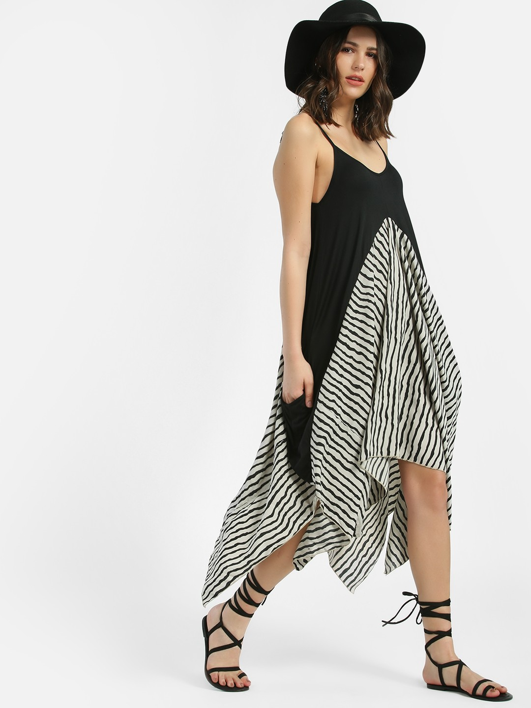 KOOVS Multi Abstract Stripe Colour Block Midi Dress 1