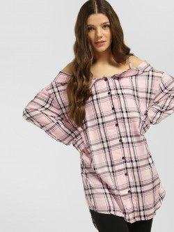 KOOVS Check Cold Shoulder Oversized Shirt