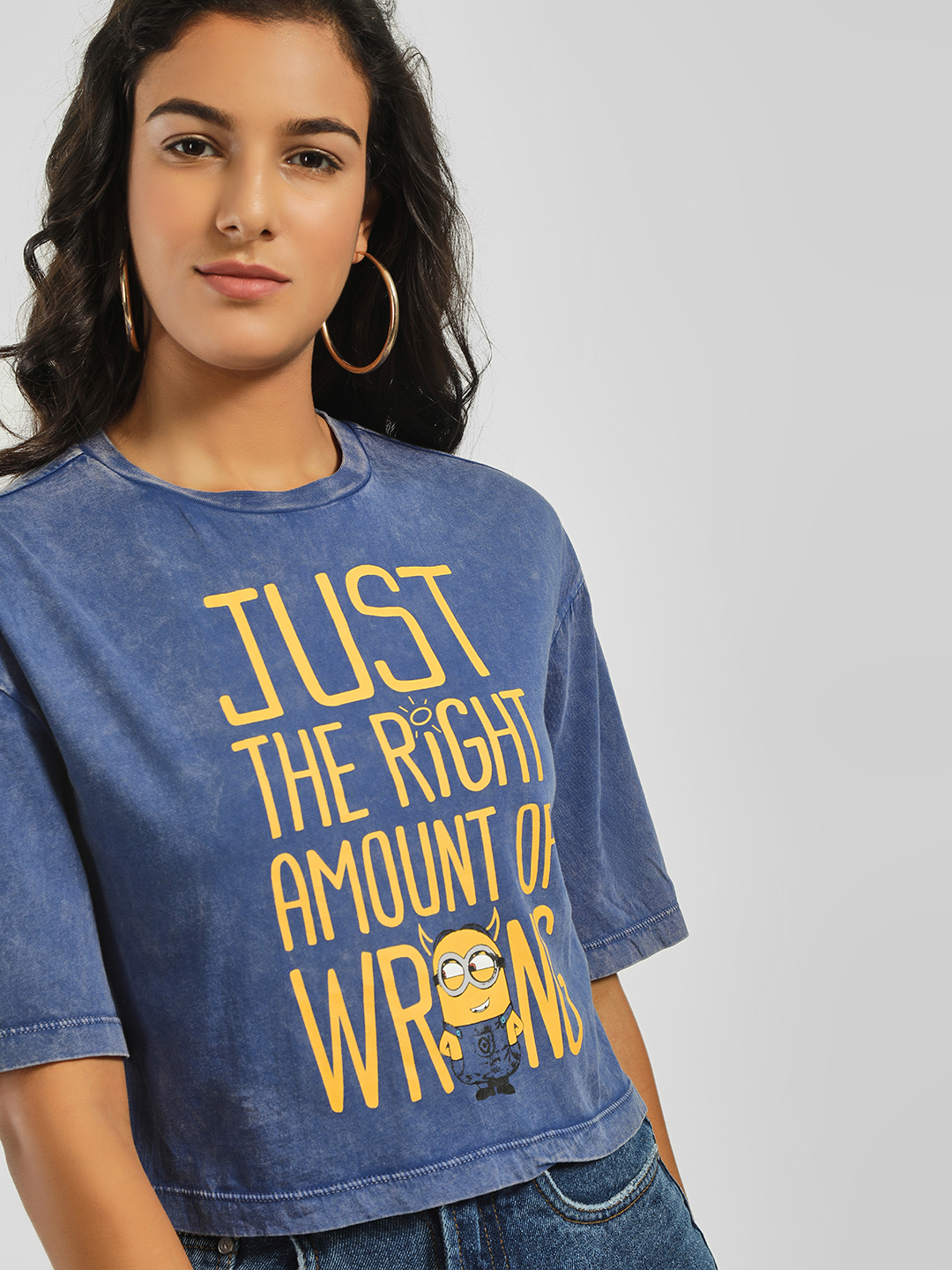 Free Authority Blue Wicked Minion Slogan Crop T-Shirt 1