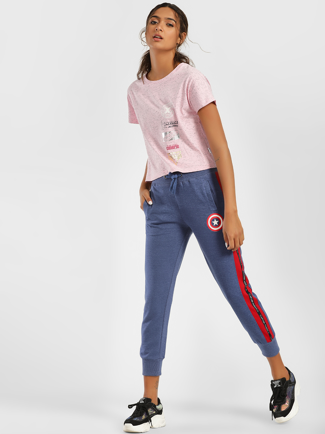 Free Authority Blue Captain America Side Tape Joggers 1
