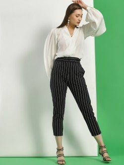 Spring Break Striped Paperbag Waist Cropped Trousers