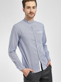 Flying Machine Pinstripe Band Collar Shirt