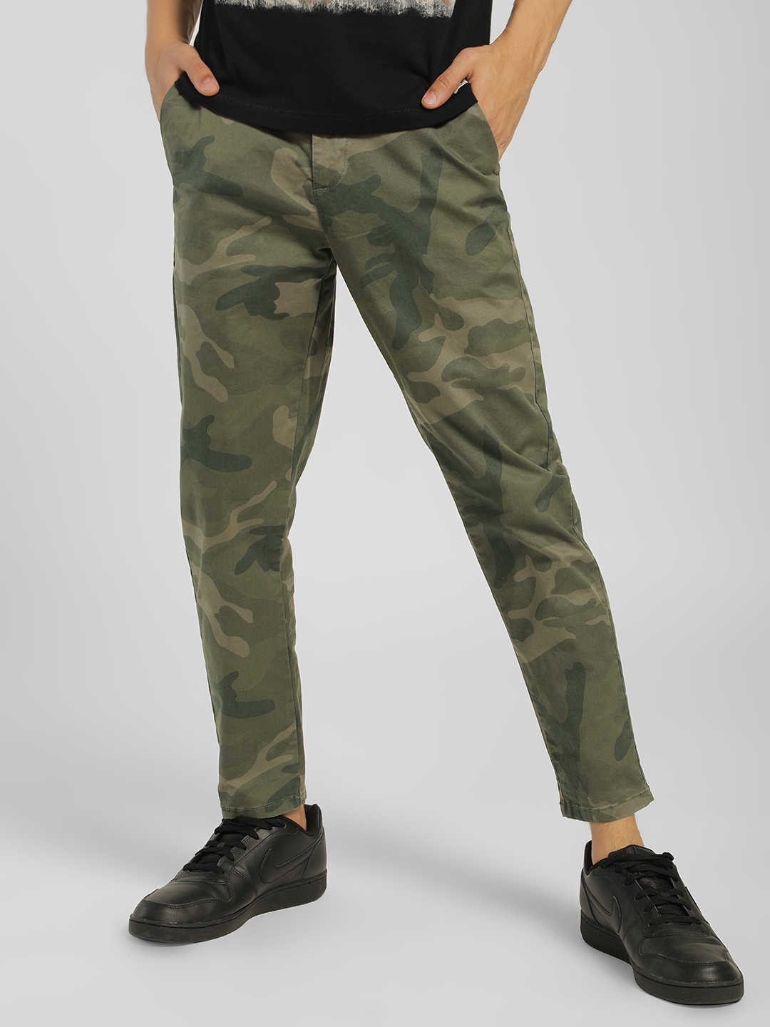 Flying Machine Green Camo Print Slim Fit Trousers 1