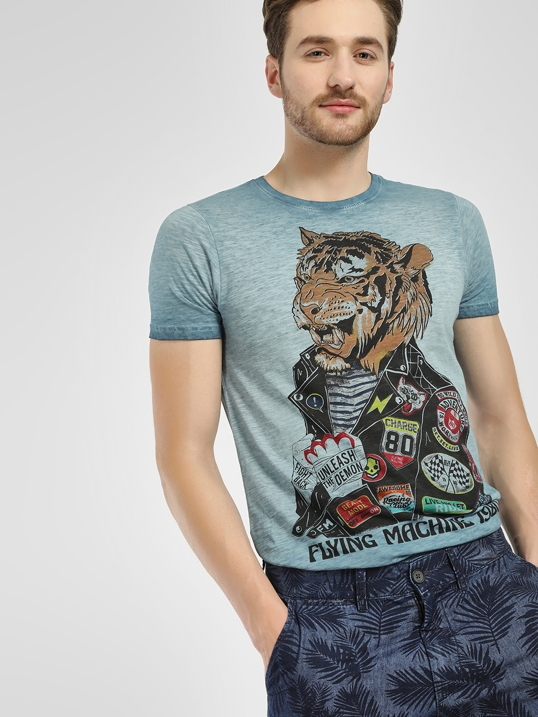 Flying Machine Ombre Racing Tiger Print T-Shirt