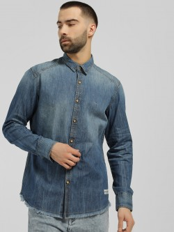 Flying Machine Frayed Hem Denim Casual Shirt