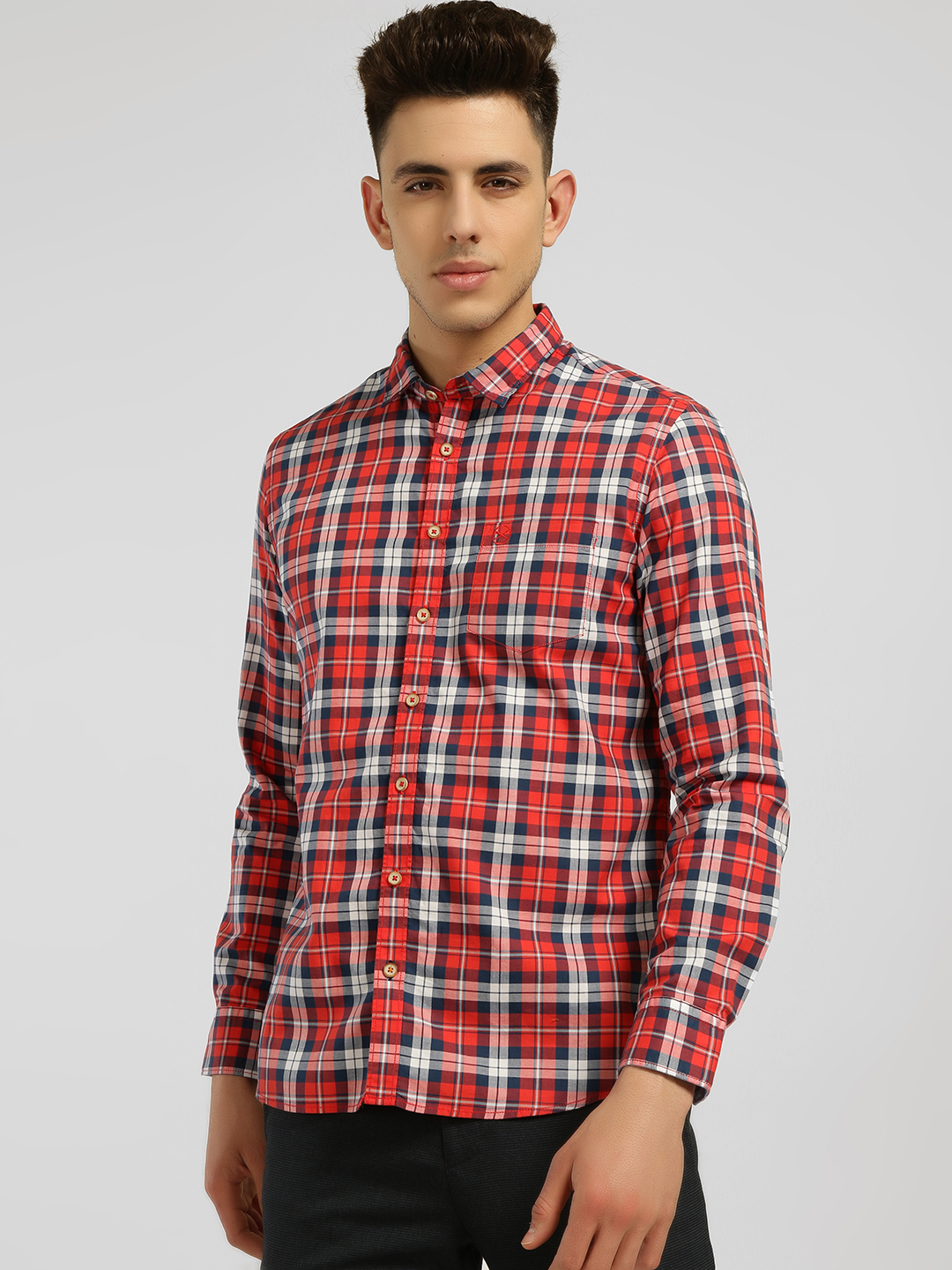 SCULLERS Red Plaid Check Casual Shirt 1