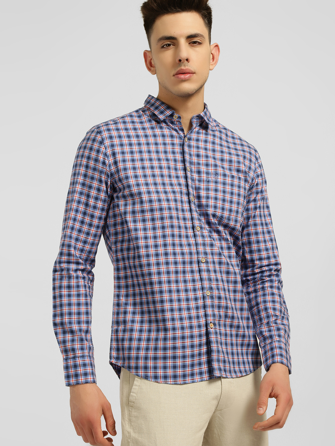 SCULLERS Blue Madras Check Casual Shirt 1