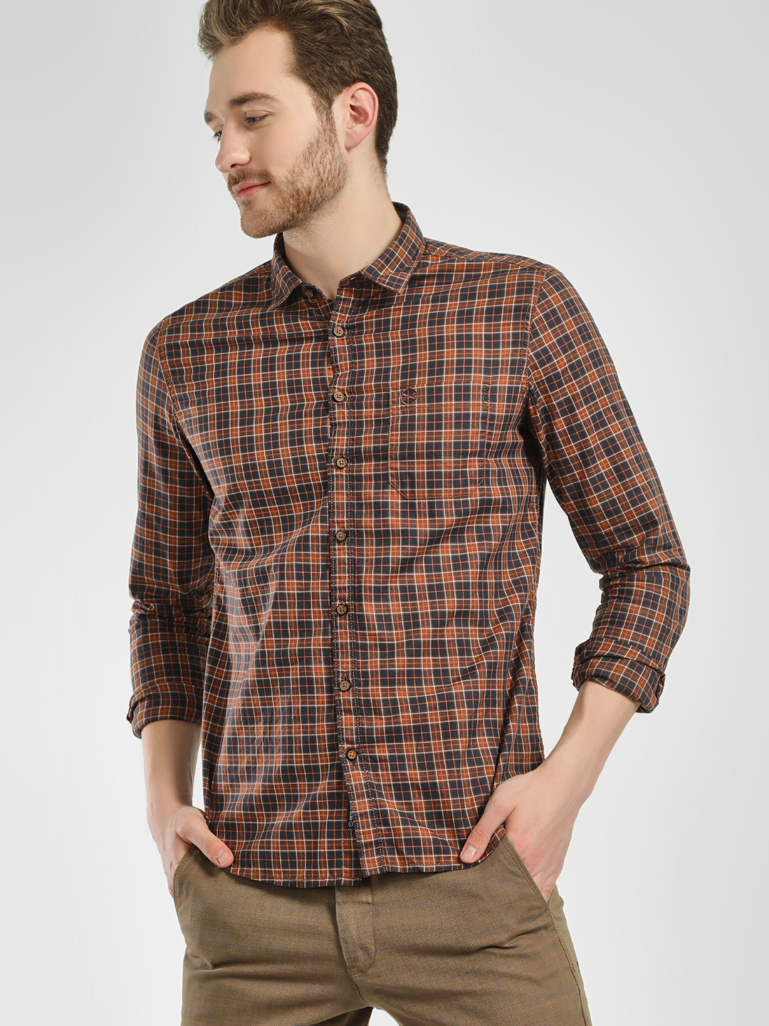 SCULLERS Blue Grid Check Casual Shirt 1