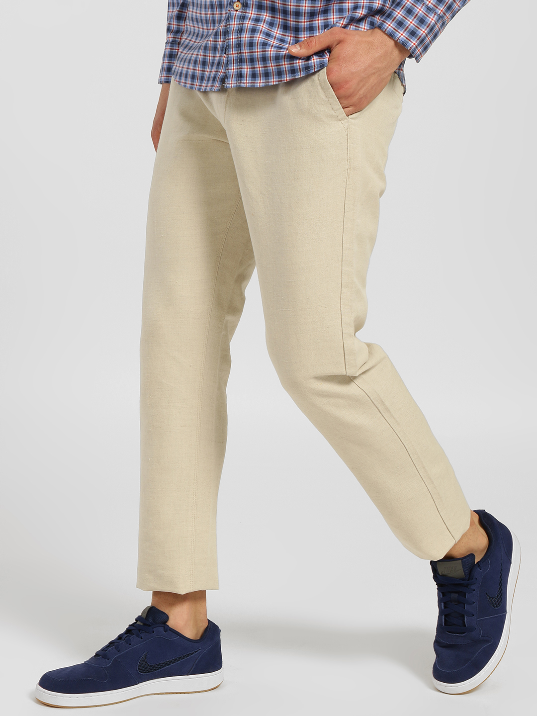 SCULLERS Green Textured Slim Fit Trousers 1