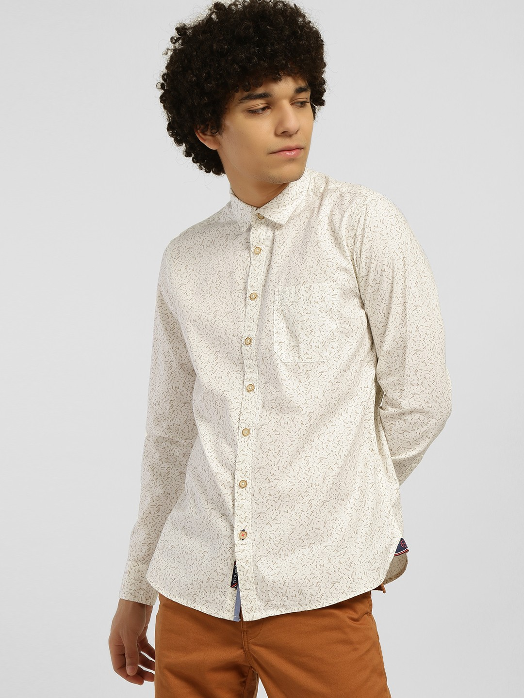 SCULLERS White Neo Nautical Print Casual Shirt 1