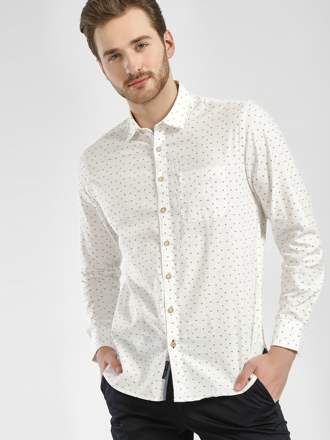 SCULLERS White All Over Print Casual Shirt 1
