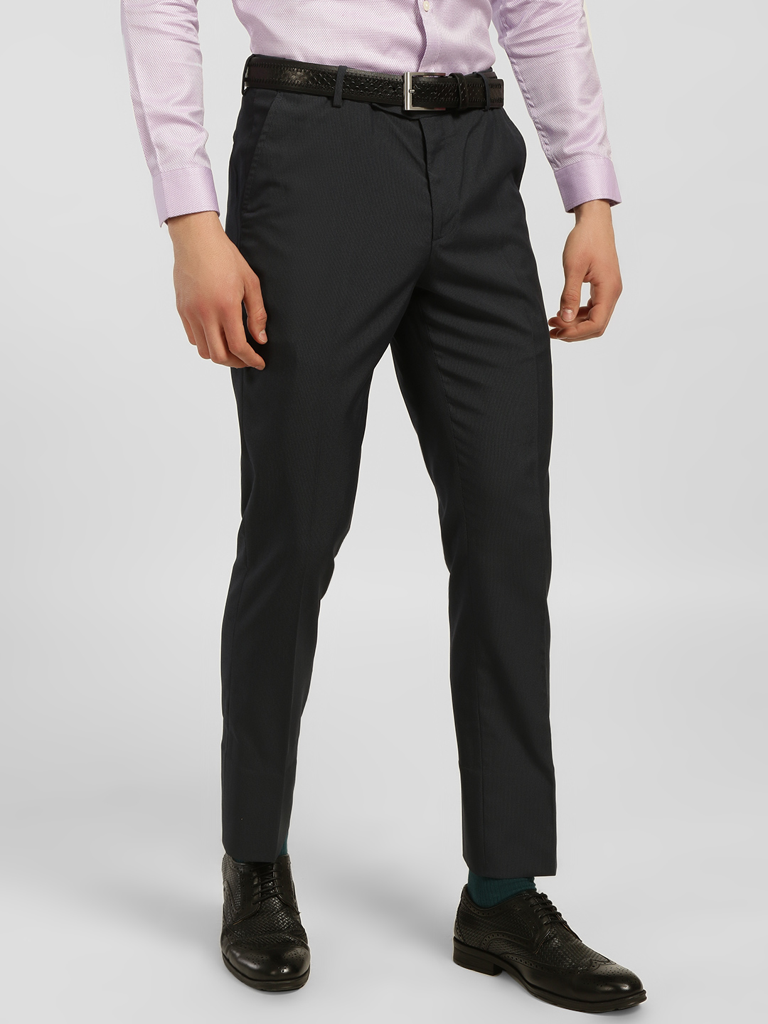 Indigo Nation Blue Woven Slim Formal Trousers 1