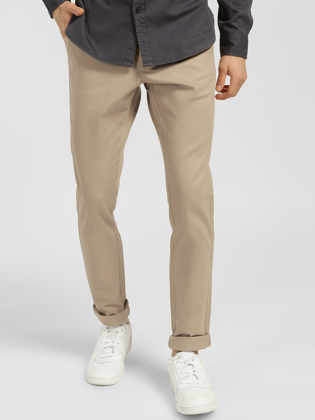 Indigo Nation Beige Basic Slim Fit Trousers 1