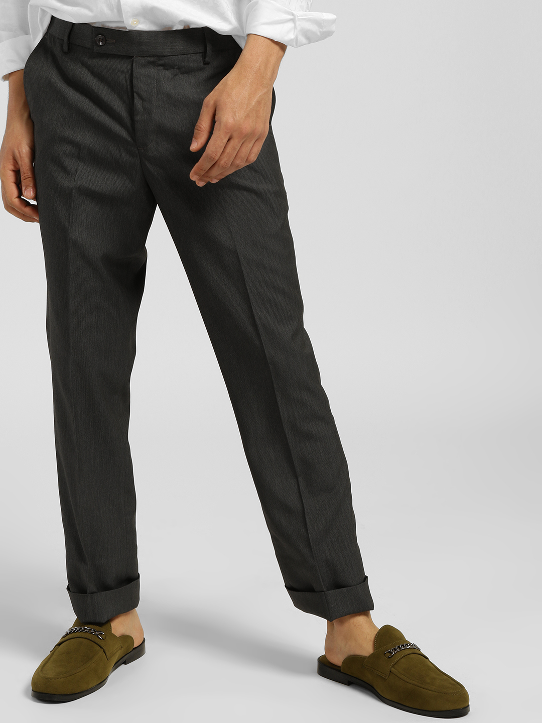Indigo Nation Grey Textured Slim Fit Trousers 1