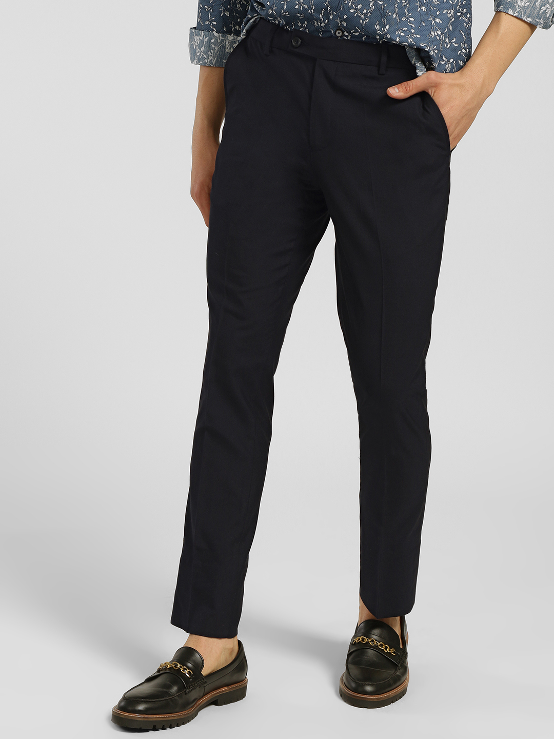 Indigo Nation Blue Basic Slim Fit Trousers 1