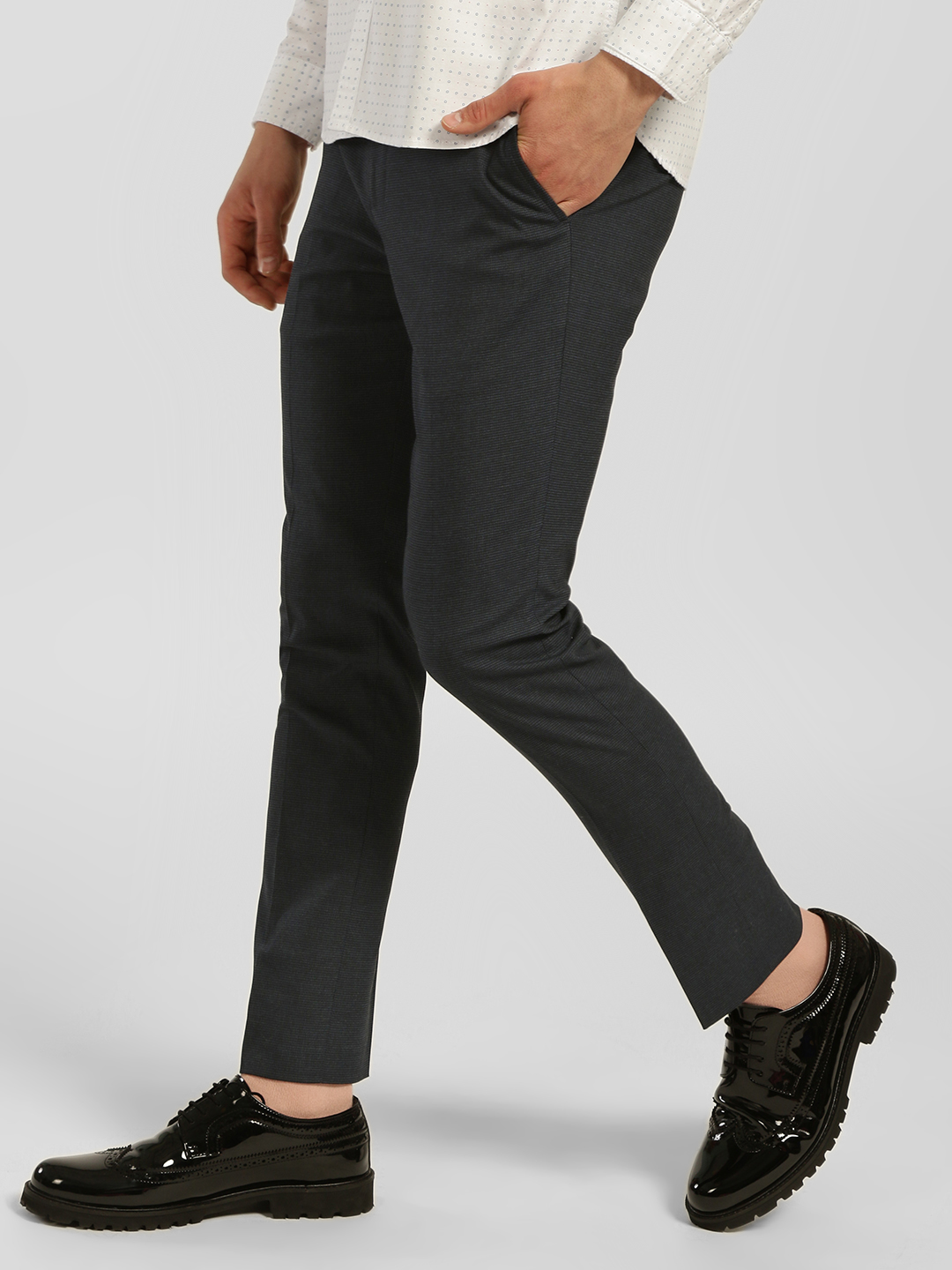 Indigo Nation Black Houndstooth Check Slim Fit Trousers 1