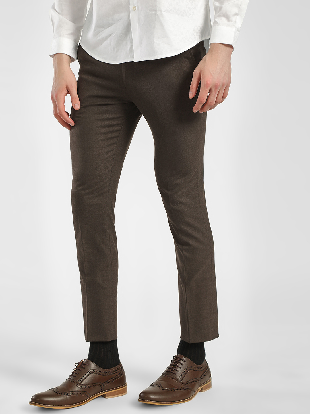 Indigo Nation Brown Woven Slim Fit Cropped Trousers 1