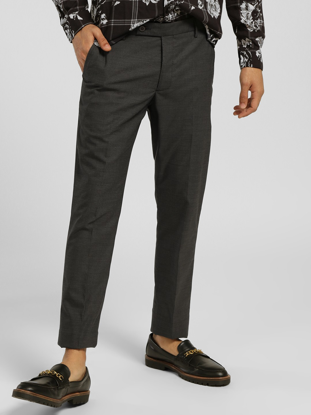 Indigo Nation Grey Slim Fit Formal Trousers 1