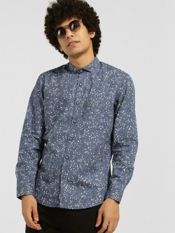 Indigo Nation Leaf Print Long Sleeve Shirt