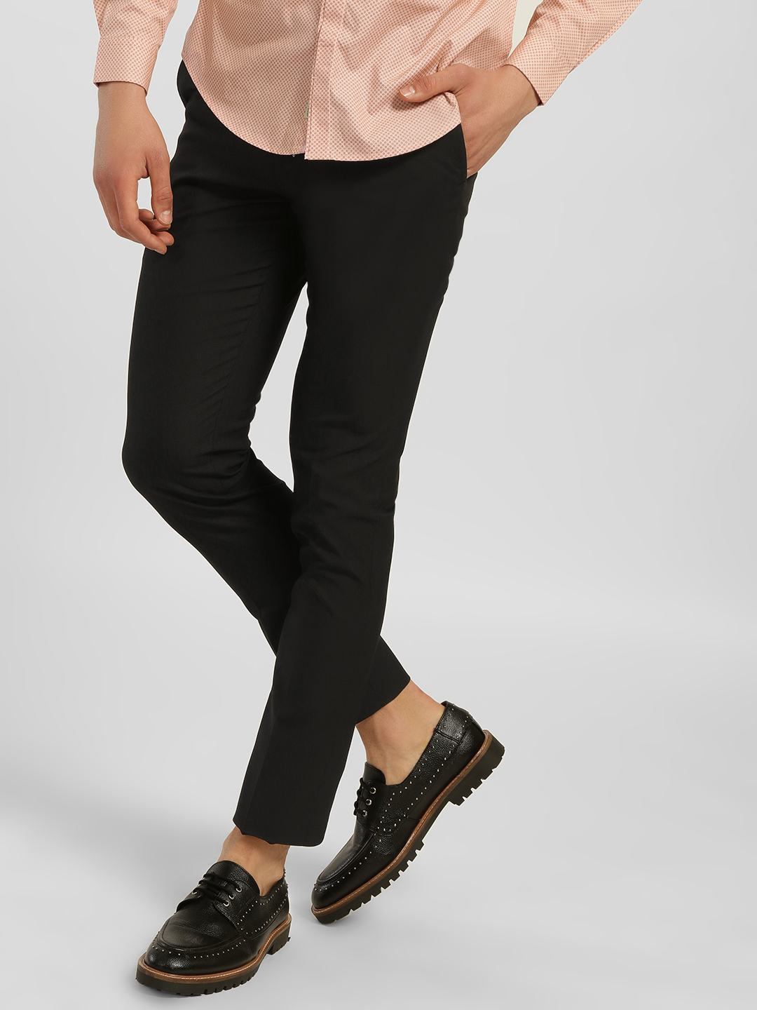 Indigo Nation Black Basic Slim Formal Trousers 1