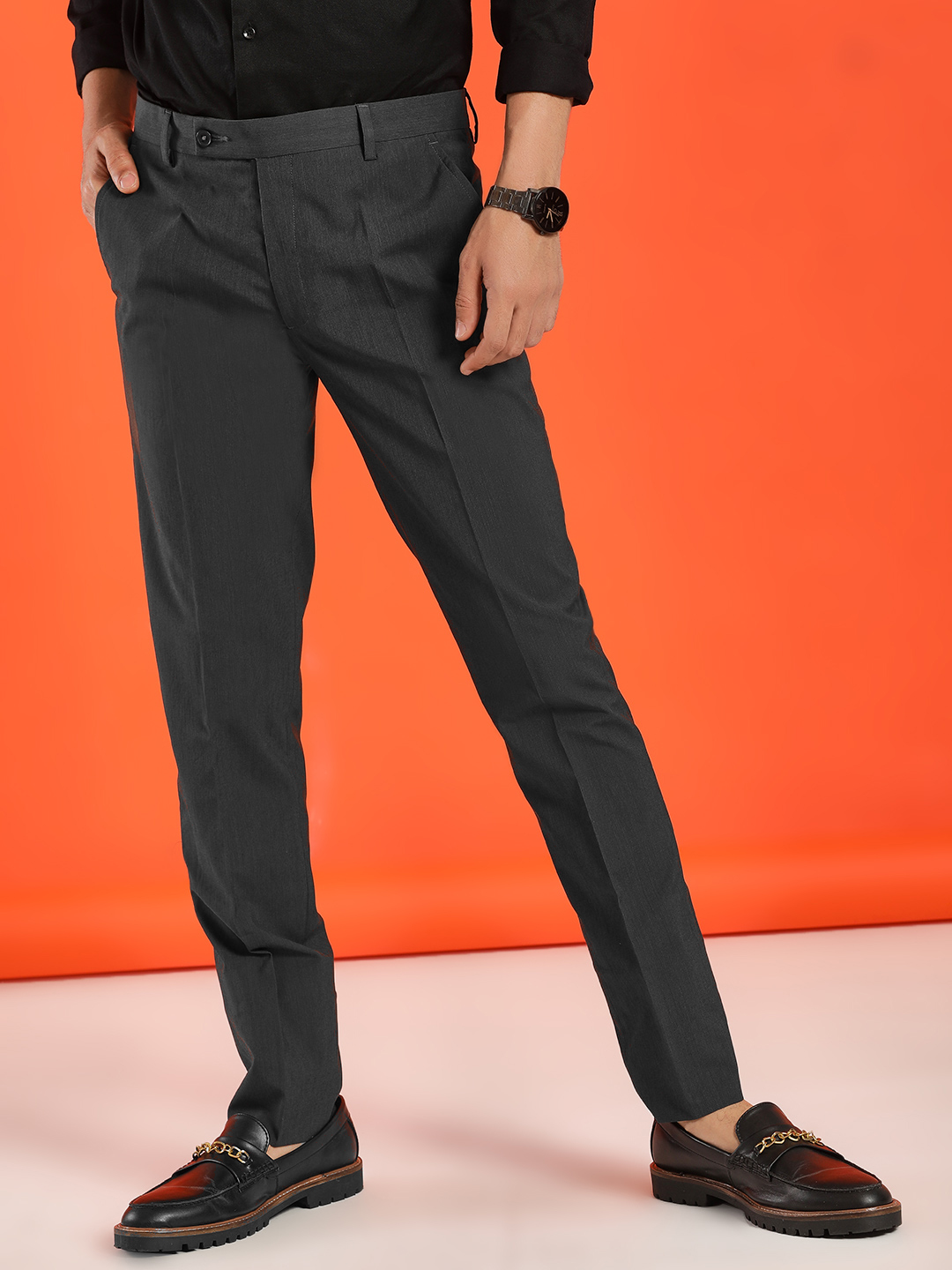 Indigo Nation Grey Basic Slim Formal Trousers 1