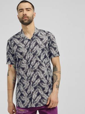 AMON Leaf Print Cuban Collar S...