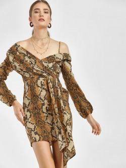 Moguland Snake Print Bardot Neck Asymmetric Dress