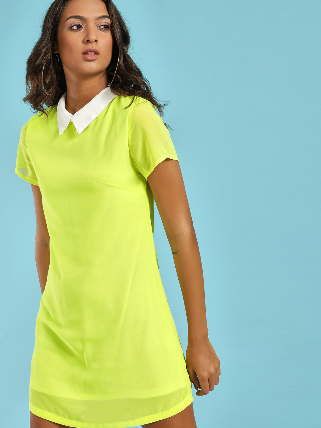 Moguland Green Peter Pan Collar Shift Dress 1