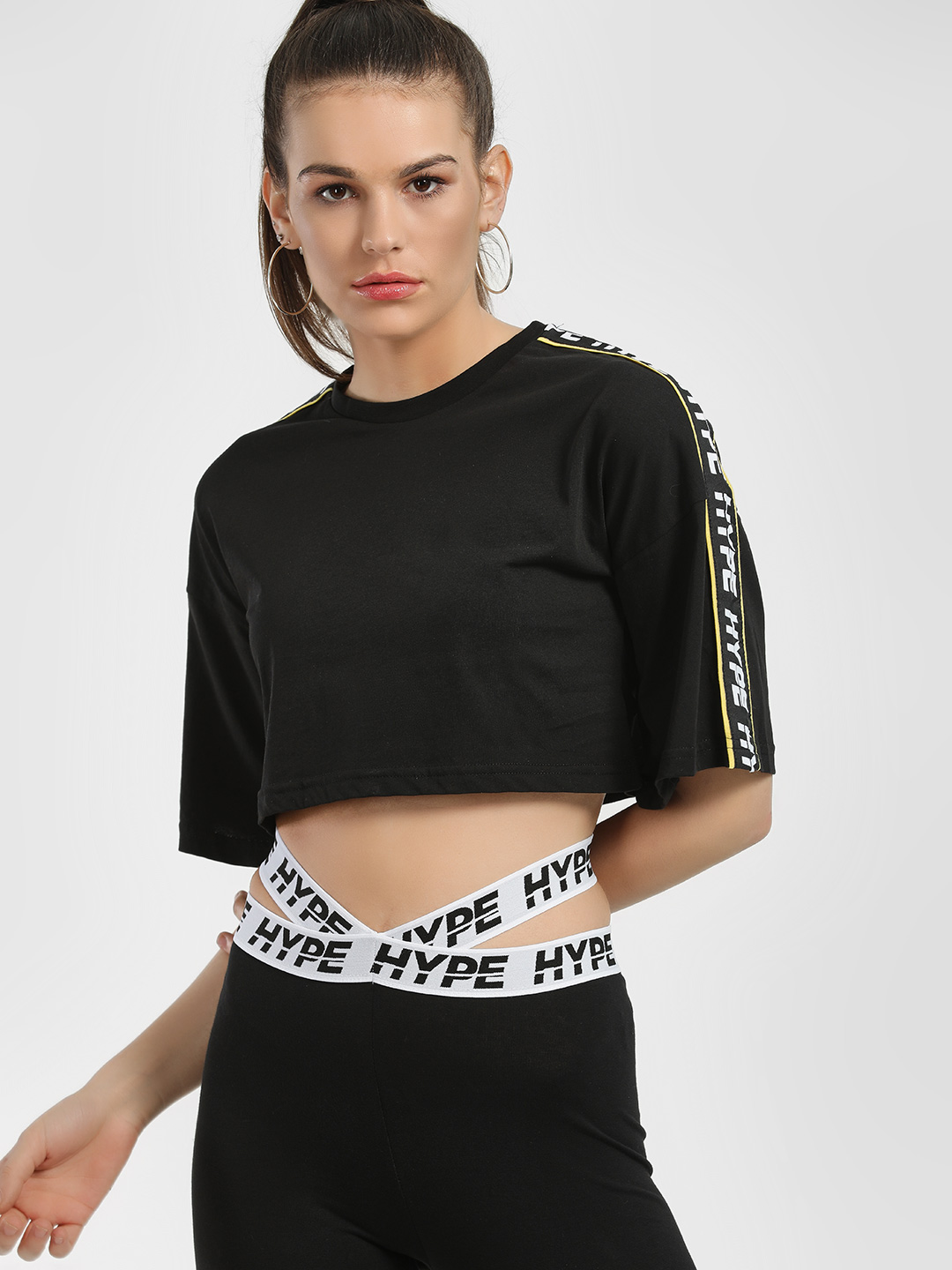 Hype Black Contrast Tape Warning Crop T-Shirt 1