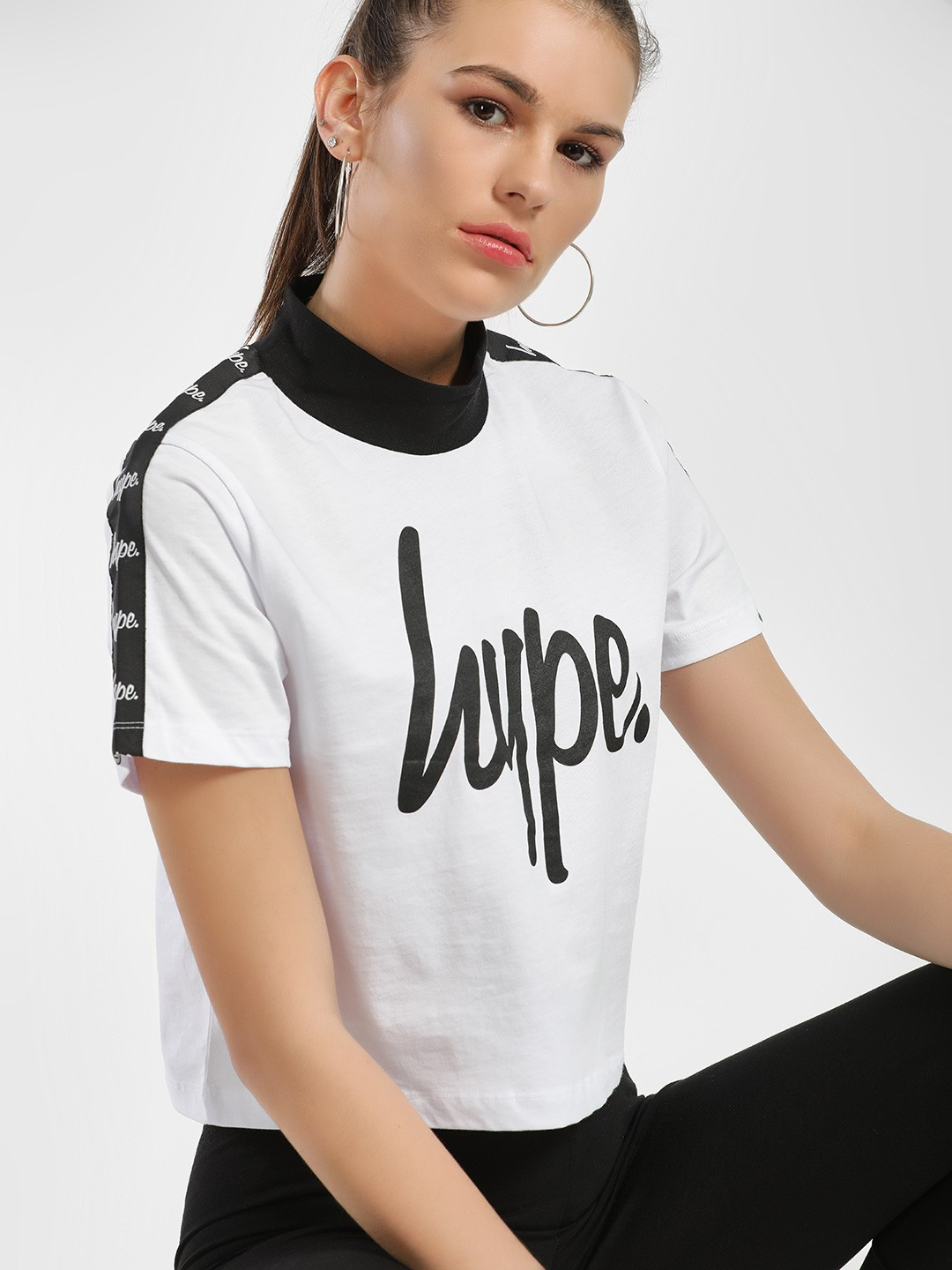 Hype WHITE/BLACK Contrast Tape Cropped T-Shirt 1
