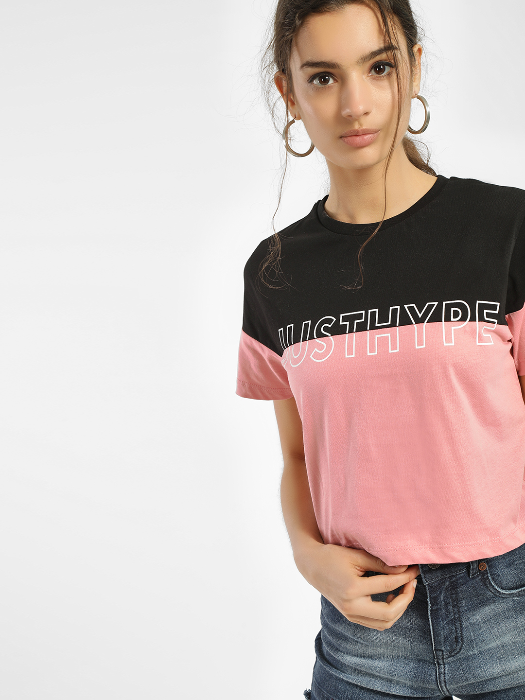 Hype Pink/Black Colour Block Text Crop T-Shirt 1