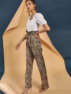 Lola May Leopard Print High Waist Paperbag Trousers
