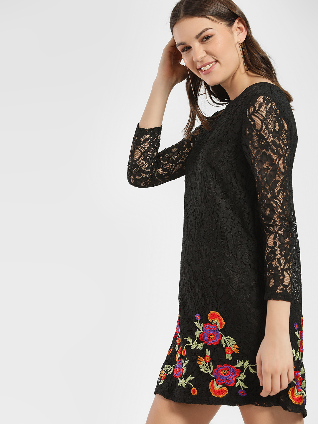 JJ's Fairyland Black Lace Floral Embroidered Shift Dress 1