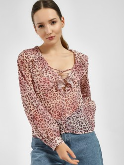 JJ's Fairyland Leopard Print Lattice Frill Blouse