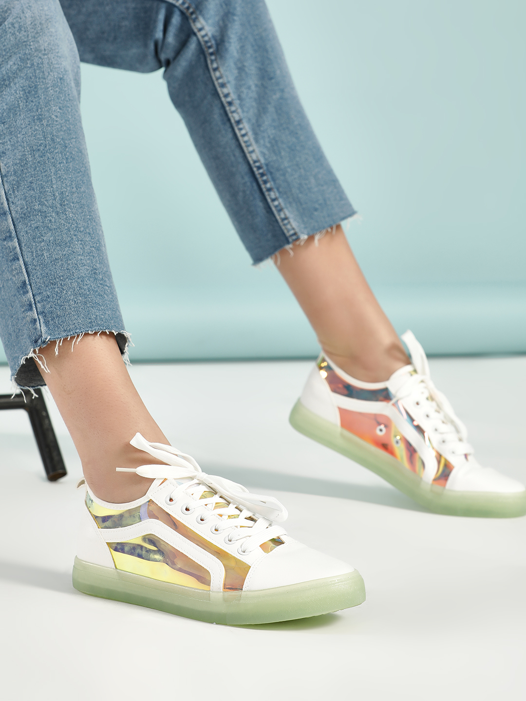 Aspirer White Holographic Panel Coloured Sole Sneakers 1