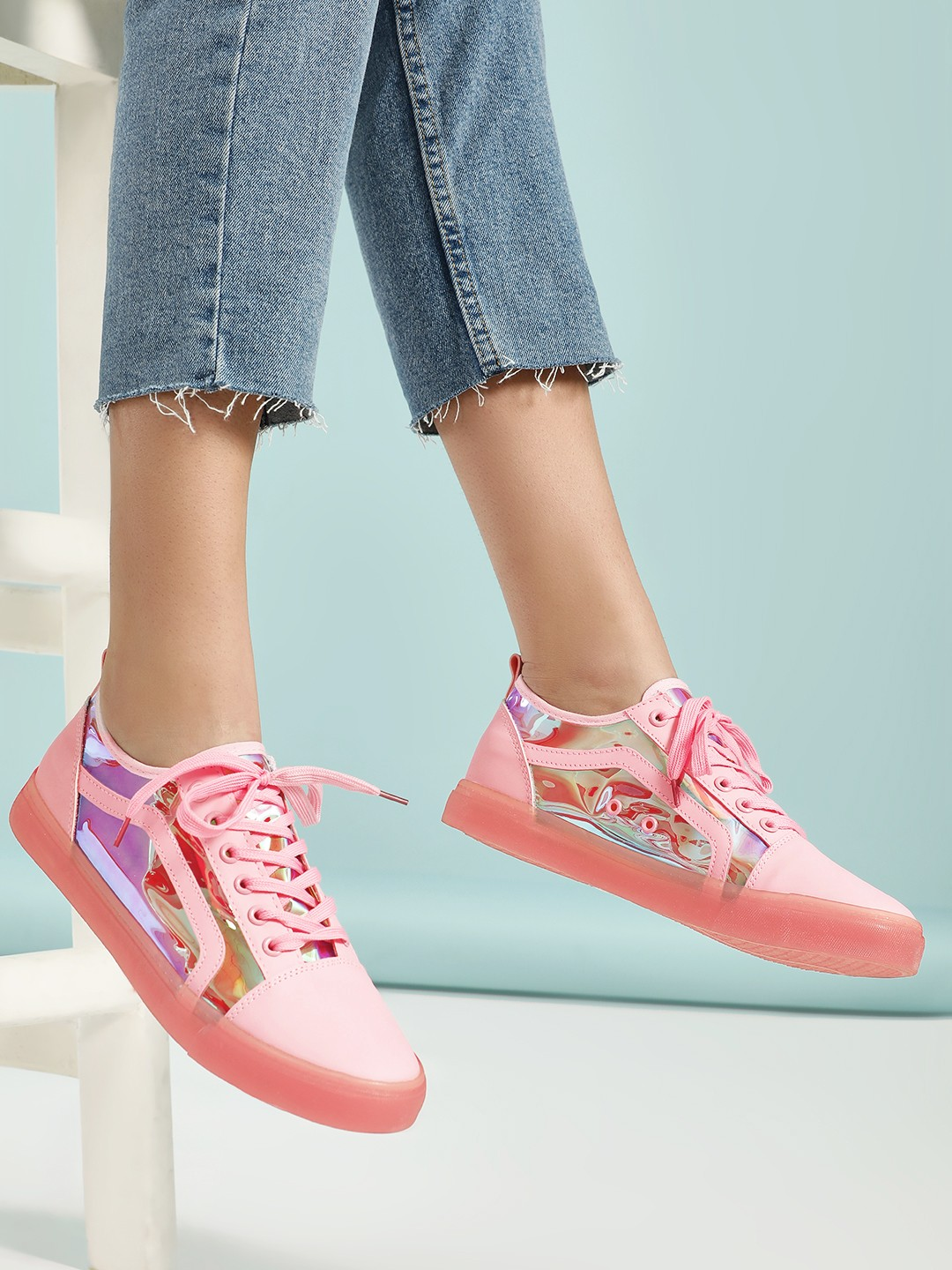 Buy Aspirer Pink Holographic Panel Coloured Sole Sneakers