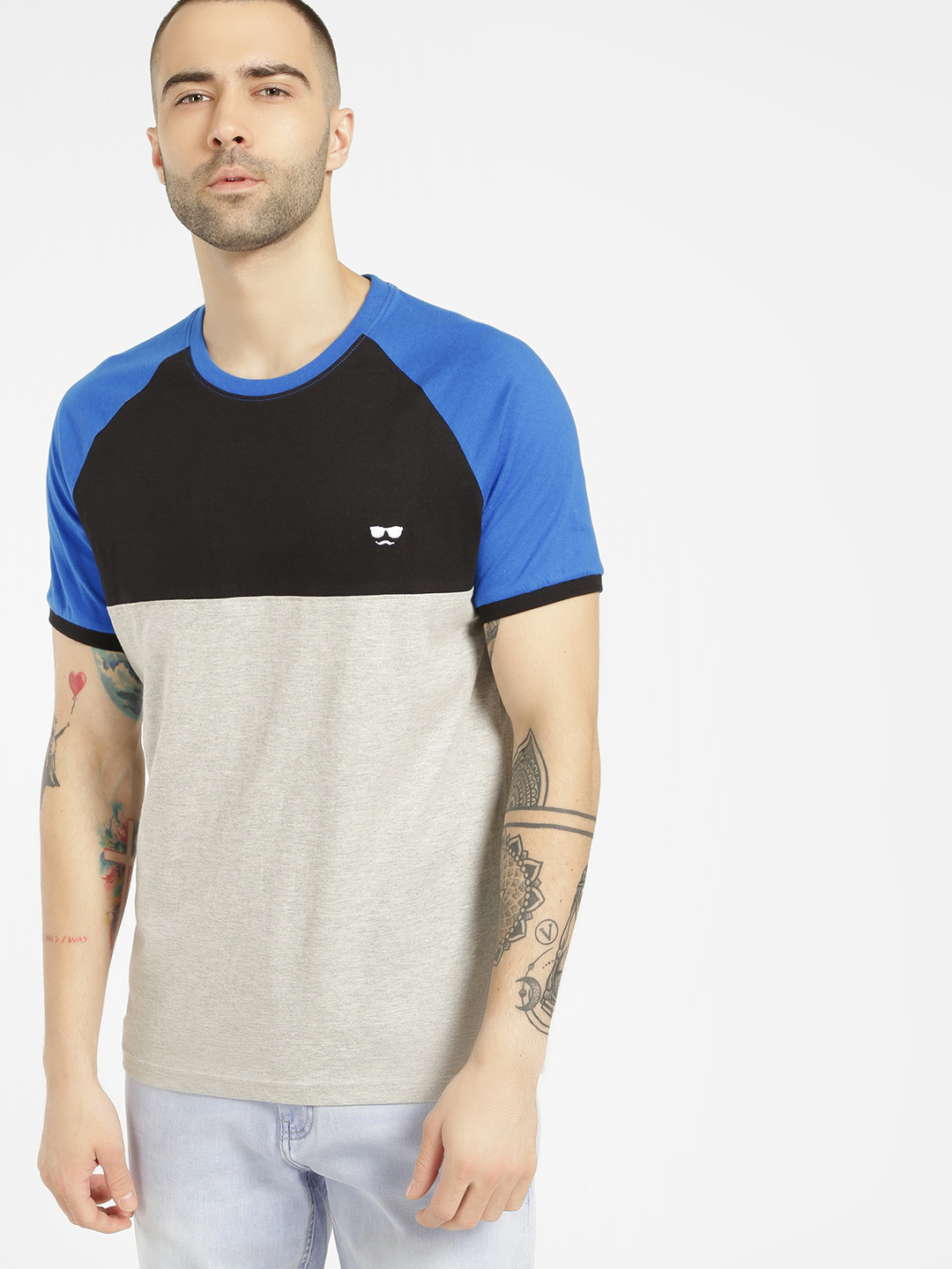 Garcon Grey Colour Block Logo T-Shirt 1