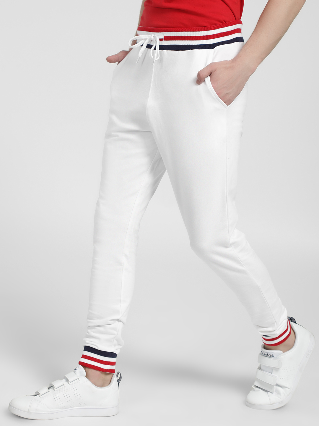 Garcon White Tipped Ribbed Drawstring Waist Joggers 1