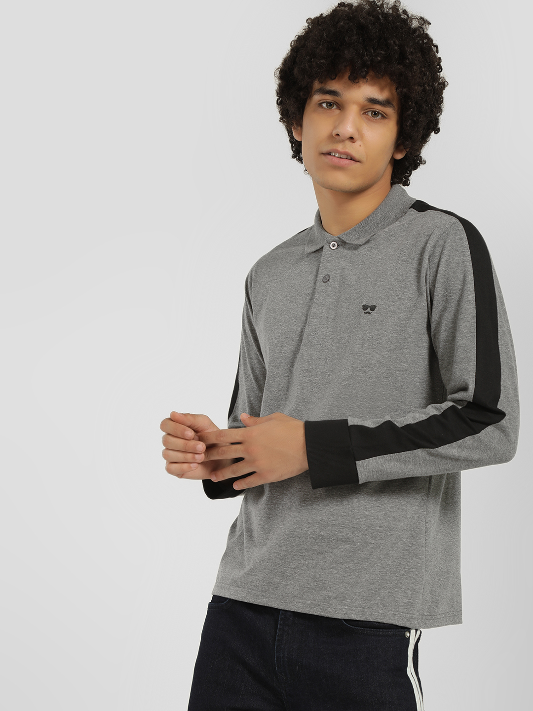 Garcon Grey Side Stripe Polo Shirt 1