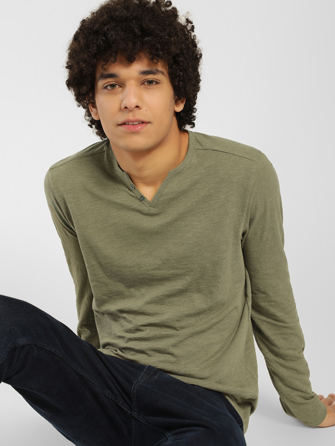 Celio Brown Henley Neck Long Sleeve T-Shirt 1