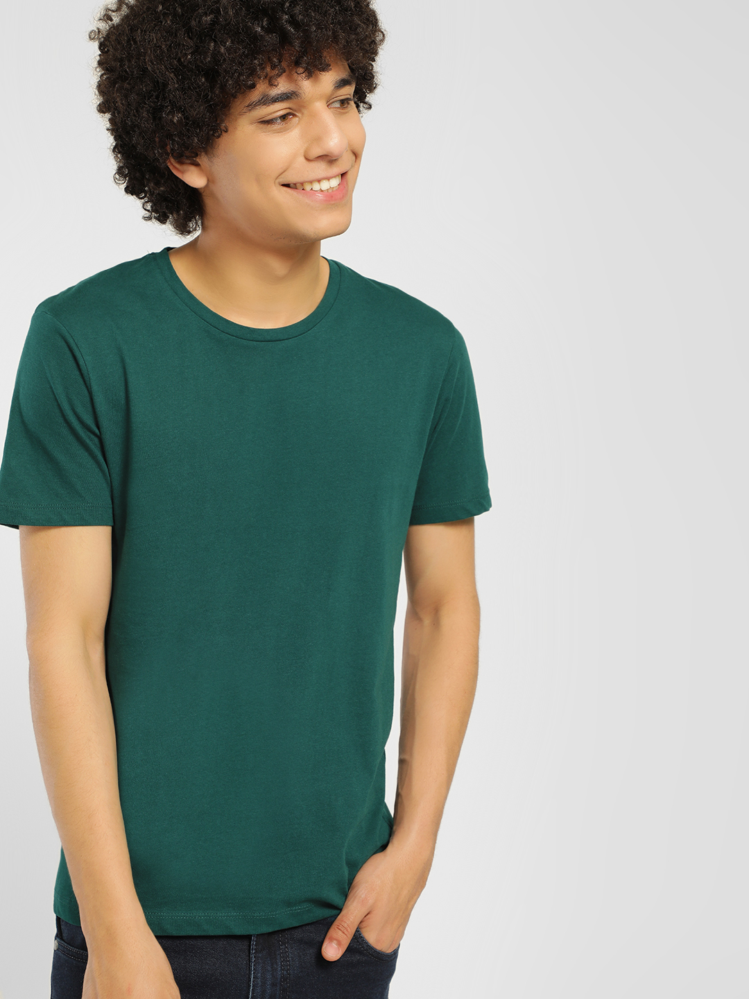 Celio Green Basic Crew Neck T-Shirt 1