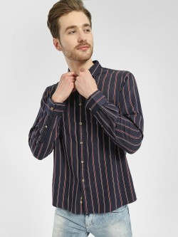 Celio Vertical Stripe Woven Casual Shirt