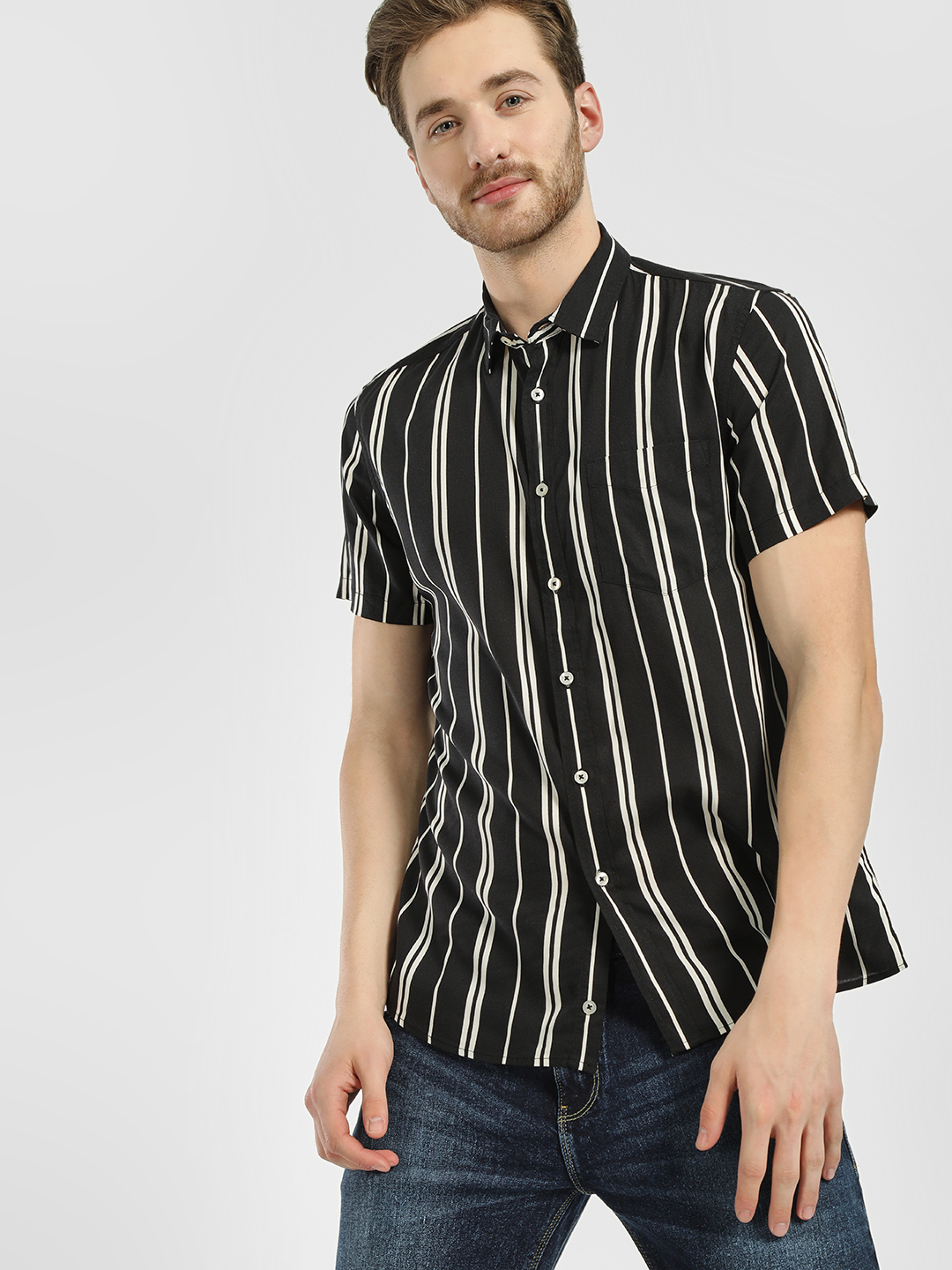 Celio Black Vertical Stripe Casual Shirt 1