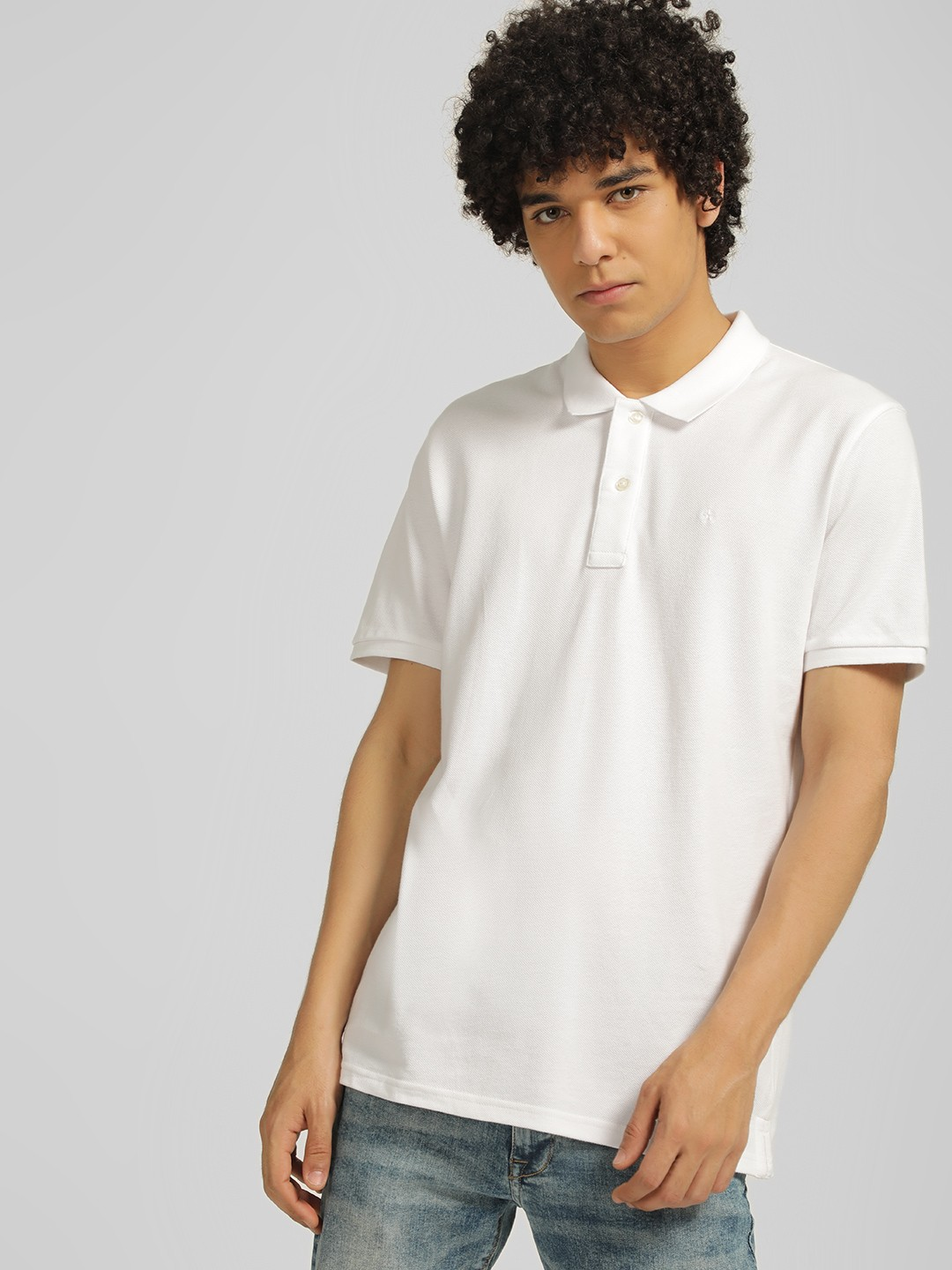 Celio White Knit Polo T-Shirt 1