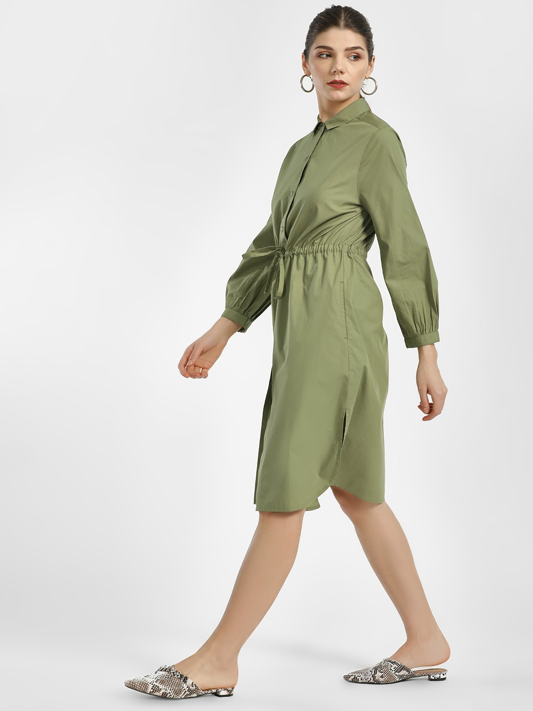 PostFold Olive Green Front Tie-Up Shirt Dress 1