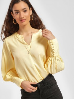 PostFold Dobby Weave Bishop Sleeve Blouse