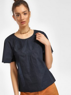 PostFold Pintuck Yoke Flared Sleeve Blouse